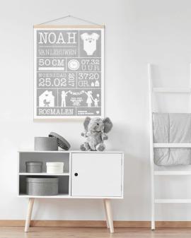 Geboorteposter op Canvas met houten hanger| Gepersonaliseerd | Printcandy