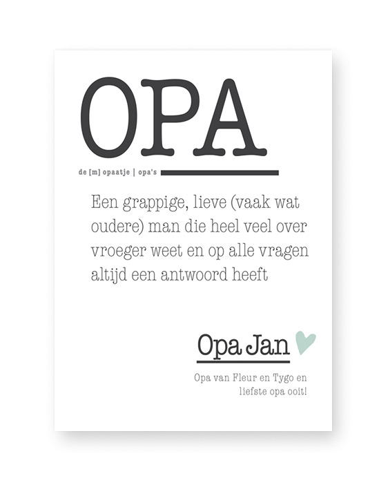 Poster Woord Definitie - Opa - Woordenboek poster met eigen tekst, Printcandy
