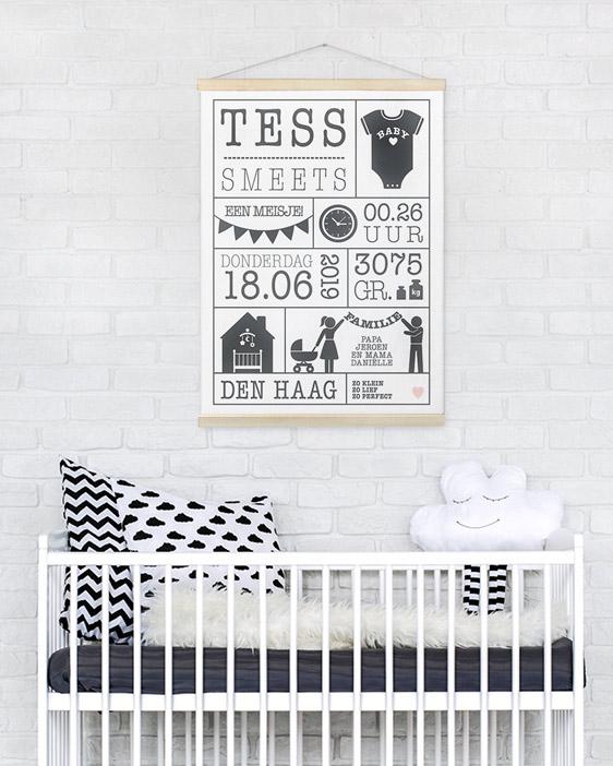 Geboorte Canvas Poster zonder lengte | Gepersonaliseerde Textielposter babykamer | Printcandy
