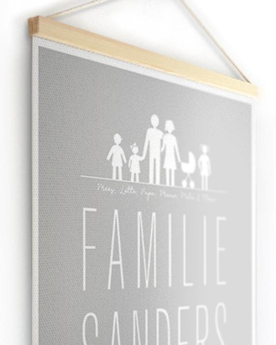 Textielposter | Gepersonaliseerde Familie Canvas Poster | Printcandy