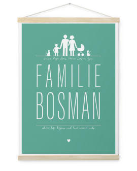 Familie Canvas Poster | Gepersonaliseerde Textielposter | Printcandy