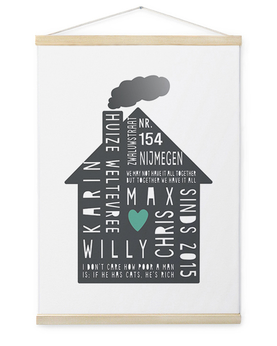 Family Home Canvas Poster | Gepersonaliseerde Textielposter | Printcandy