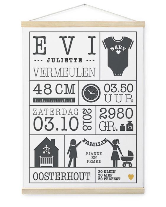 Geboorte Canvas Poster | Gepersonaliseerde Textielposter | Printcandy