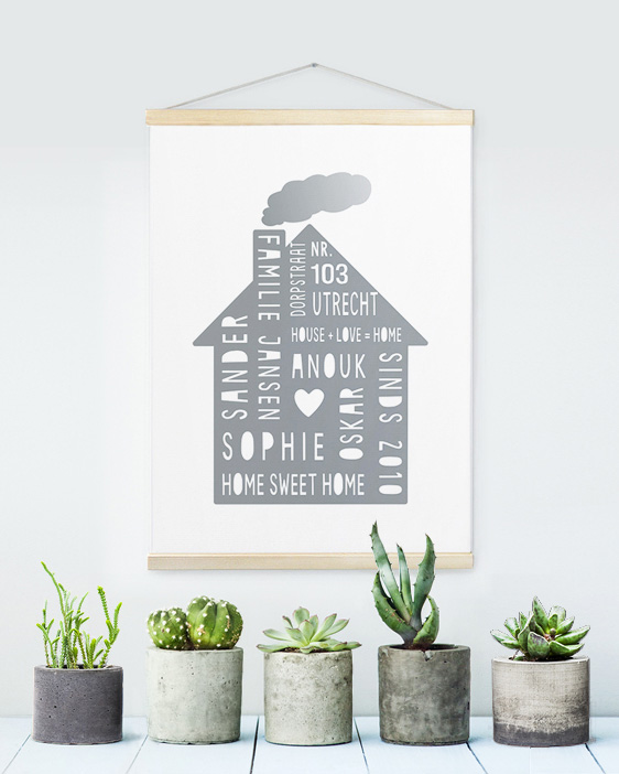 Canvas Poster Home Sweet Home | Gepersonaliseerde Textielposter | Printcandy