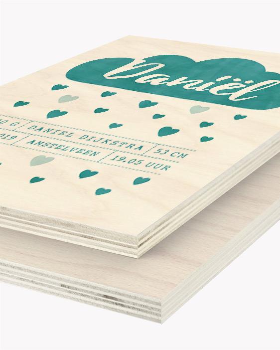 Hout Poster | Gepersonaliseerde Baby Houtprint | Printcandy
