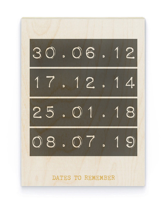 Datum Hout Poster | Gepersonaliseerde Poster op Hout | Printcandy