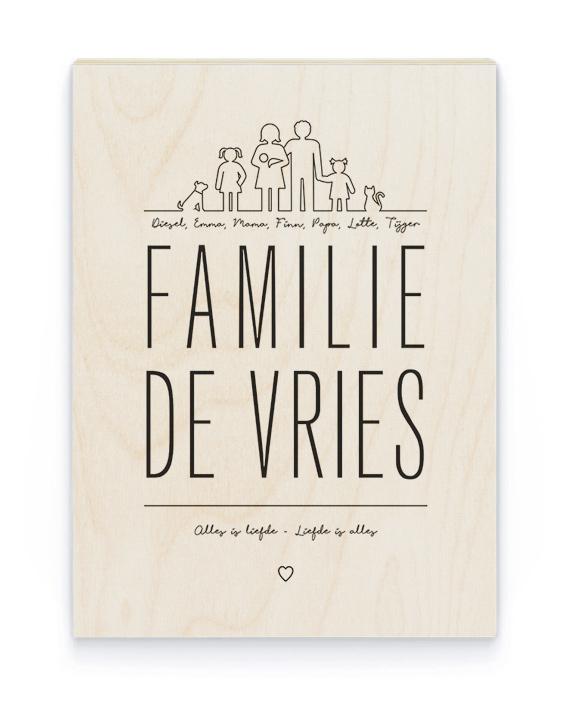 Familie Hout Poster | Gepersonaliseerde Poster op Hout | Printcandy