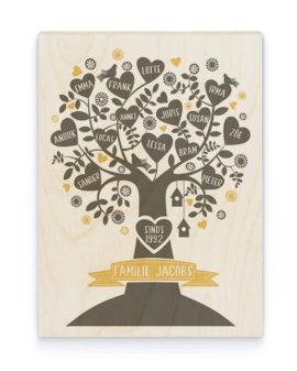Familieboom Hout Poster | Gepersonaliseerde Poster op Hout | Printcandy