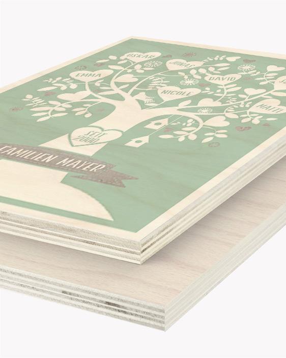 Hout Poster | Gepersonaliseerde Familieboom Houtprint | Printcandy