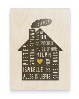 Family Home Hout Poster | Gepersonaliseerde Poster op Hout | Printcandy