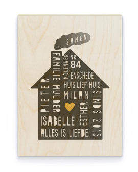 Family Home Hout Poster | Gepersonaliseerde Poster op Hout | Printcandy