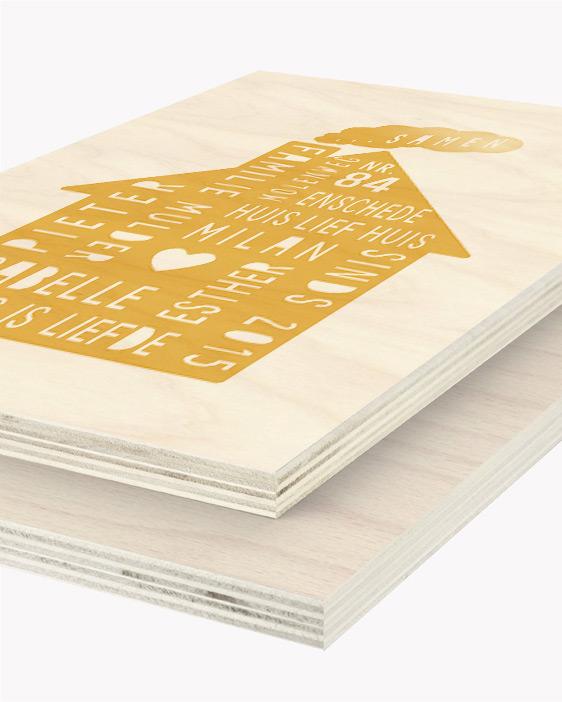 Hout Poster | Gepersonaliseerde Family Home Houtprint | Printcandy