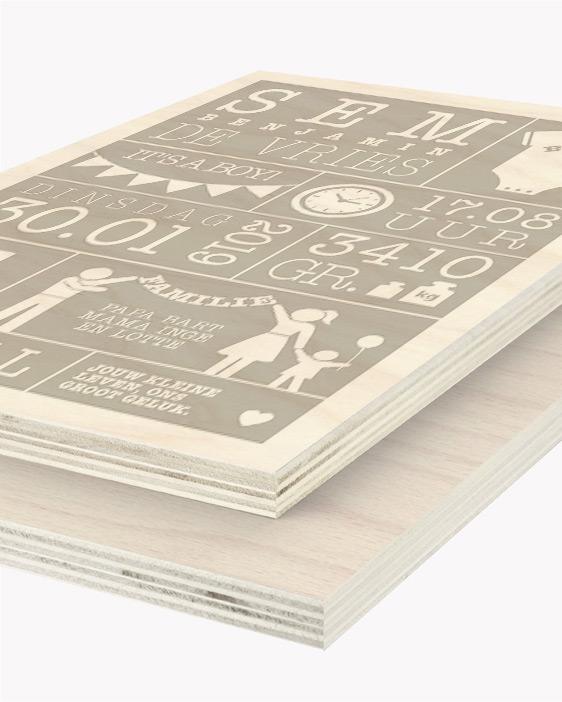Hout Poster | Gepersonaliseerde Geboorte Houtprint | Printcandy