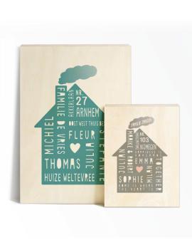 Gepersonaliseerde Family Home Poster op Hout | Printcandy