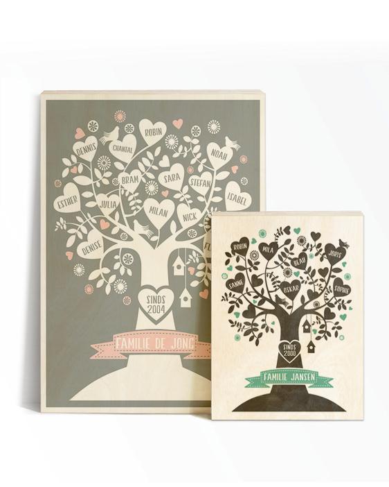 Gepersonaliseerde Family Tree Poster op Hout | Printcandy